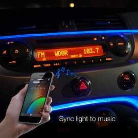 Use smartphone to sync fiber optic interior light to music beats.