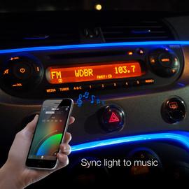 Use smartphone to sync fiber optic interior light to music beats.