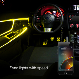 Sync fiber optic interior lights to the speed of the vehicle through the app controlled feature.