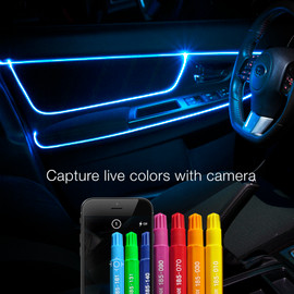 Capture live colors with Camera and translated to fiber optic lights.