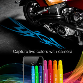 Tattoo graphic display camera capture function. Using markers to select the exact color with phone camera to display the blue of the marker with the graphic.
