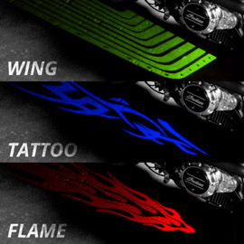 Available graphics Angel Wing, Tattoo, and Fire being displayed on the same bike in the same position.