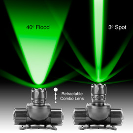 Green light 40 degree flood and 3 degree spot with retractable lens