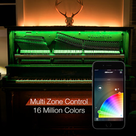Multi Zone Control & 16 Million Colors via smartphone app to display multiple colors to home kit