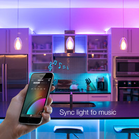 Use smartphone to sync RGB home kit to music beats.