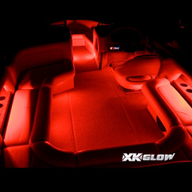 Interior of boat fully illuminated by 2 million color boat kit