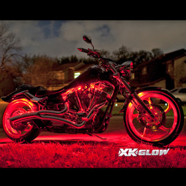 7 million color kit lighting up motorcycle