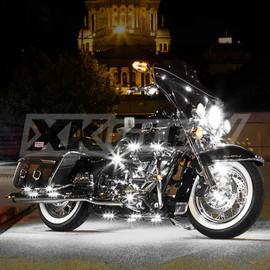 Sports bike illuminated by white single color light kit