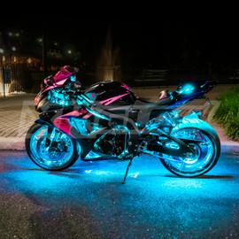 Sports bike illuminated by Light blue single color light kit