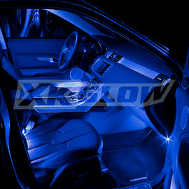 Blue single color kit illuminating the interior of a vehicle