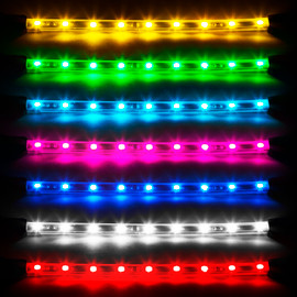 Available single colors. Amber, green light blue, pink, blue, white, and red.