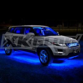 Blue Single color kit illuminating vehicle.