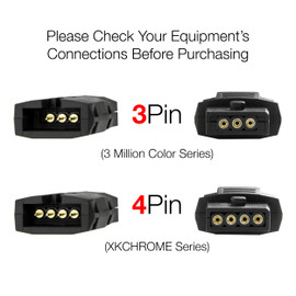 Please check your equipments connects before purchase. This is a 3 pin kit not a 4 pin kit