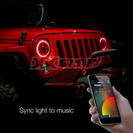 Use smartphone to sync 7in Jeep RGB Headlight to music beats.