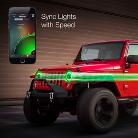 Use smartphone to sync 7in Jeep RGB Headlight to Jeeps momentum.