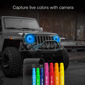Capture live colors with Camera via smartphone app to display color onto headlight