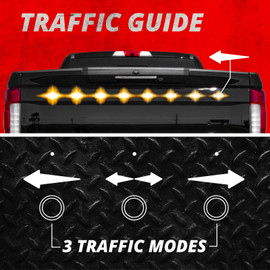 Traffic guide Mode. Amber Strobe lights display left directional traffic guide on truck. Left, Right, and Left & Right modes available