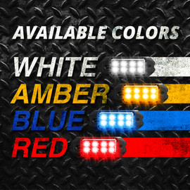 4 Available Colors. White, Amber, Blue, and Red. Combinations of All Amber, All white, White & Amber, and Blue & Red.