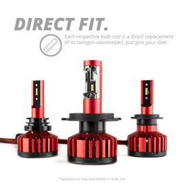 Elite series led headlight direct replacement for corresponding halogen bulbs.