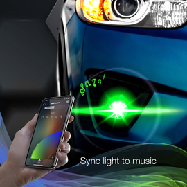 Use smartphone to sync RGB 2-in-1 headlight to music beats.