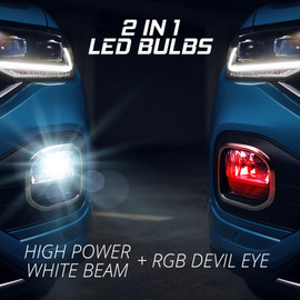 2 in 1 bulbs to display RGB and Ultra bright white for headlights