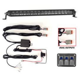 3 Button Switch Panel + 2 Output wire for Razor High Beam+Fog+Strobe Light Bar
