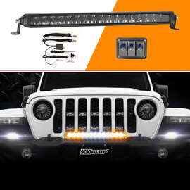 "20"" Fog + Strobe + High Beam LED Razor Light Bar Kit w/ Switch & Wire"