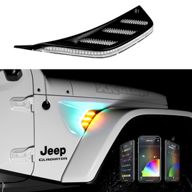 RGB+AMBER TURN SIGNAL RUNNING LIGHT FOR JEEP JL&JT FENDER VENT LIGHT | XKCHROME SMARTPHONE APP