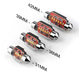 2pc White Festoon Bulbs 31/36/39/42mm