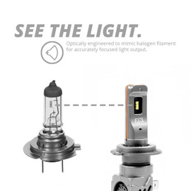 Optically engineered to mimic halogen filament for accurately focused light.