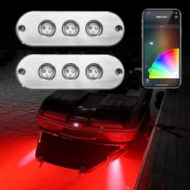 2pc 27W RGB LED Underwater Light Kit for Boat