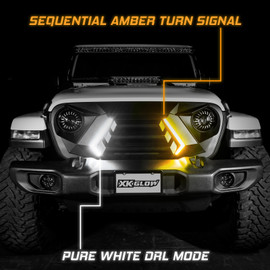 Pure White DRL Mode with Sequential Amber Turn Signal