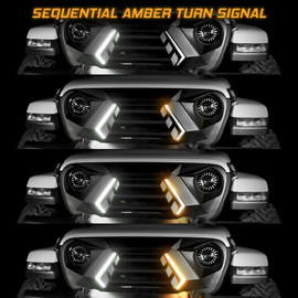 XKchrome LED Grill Kit with DRL Sequential Turn for Jeep Wrangler and Gladiator