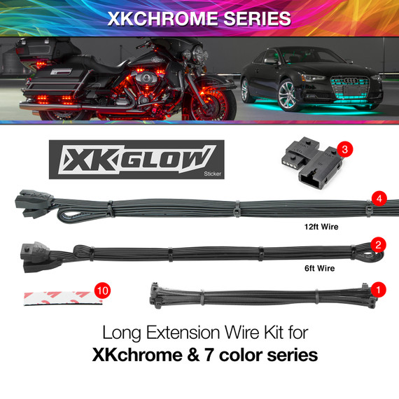 Car Extension Wire Kit | XKchrome or 7 Color Add On