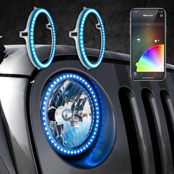 "2pc 7"" RGB LED External Jeep Halo Ring"