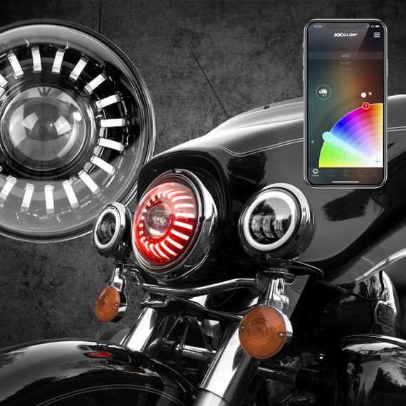 "7"" RGB LED Harley Headlight XKchrome Bluetooth App Controlled Kit"