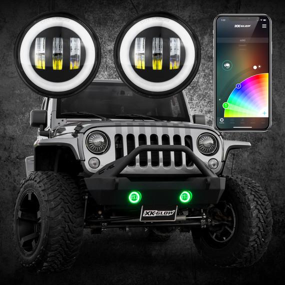 4in RGB XKchrome Jeep Wrangler JK LED App controlled Fog Light 2pc Kit