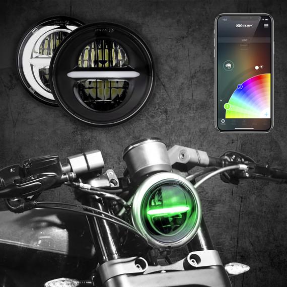 5.75 in RGB LED Harley Headlight XKchrome Bluetooth App Controlled Kit