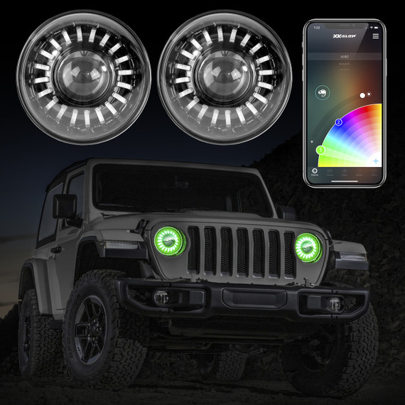 2pc RGB LED Jeep Headlight XKchrome Bluetooth App Controlled Kit