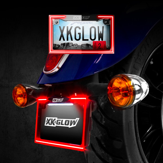 Black or Chrome Motorcycle License Plate Frame Light