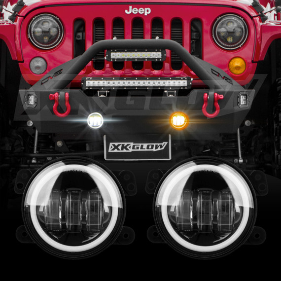 Jeep Wrangler Fog Lights >> Led Fog Light Kit For Jeep Wrangler Jk With White And Amber Halo