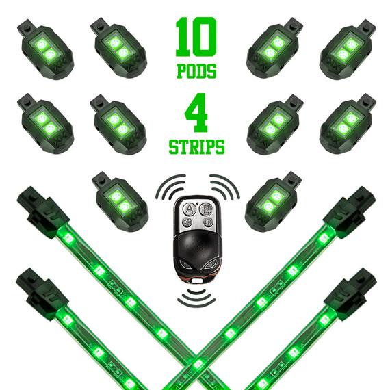 10 Pod + 4 Strip Single Color Remote Control Motorcycle Engine & Ground LED Light Kit