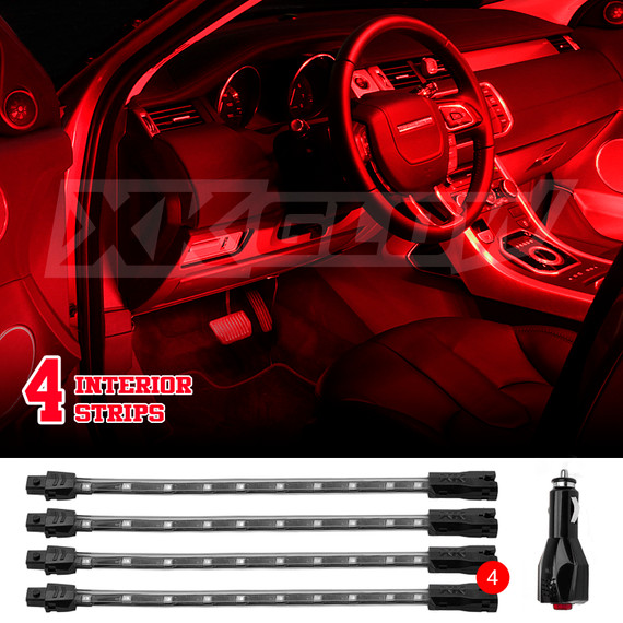"4pcs 8"" Flex Strips Neon Accent Light Kit for Car Interior Trunk Truck Bed"