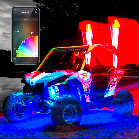 2nd Gen LED Whip Kits Side by Side UTV | XKchrome Smartphone App