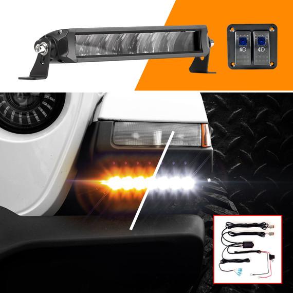 """6""""-10"""" Fog + Strobe LED Razor Light Bar Kit w/ Switch & Wire"""
