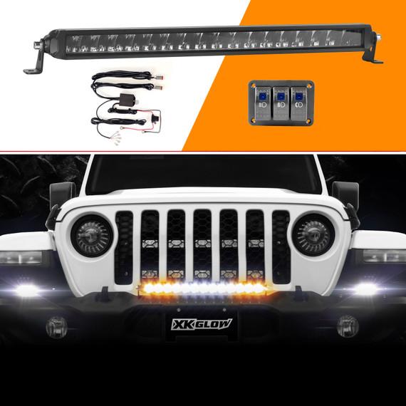 "20"" Fog + Strobe + High Beam LED Razor Light Bar Kit w/ Switch & Wire"