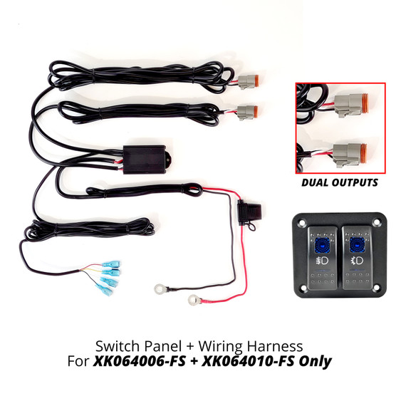 2 Button Switch Panel + 2 Output wire for Razor Fog+Strobe Light Bar