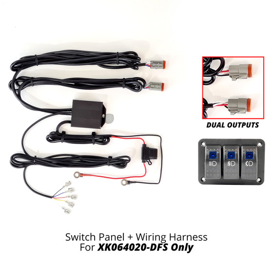 3 Button Switch Panel + 2 Output wire for Razor High Beam+Fog+Strobe Light Bar