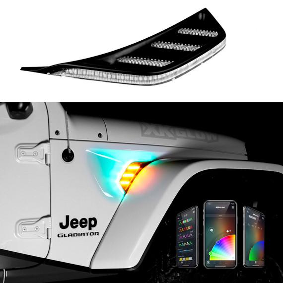 RGB+AMBER TURN SIGNAL RUNNING LIGHT FOR JEEP JL&JT FENDER VENT LIGHT | XKCHROME SMARTPHONE APP