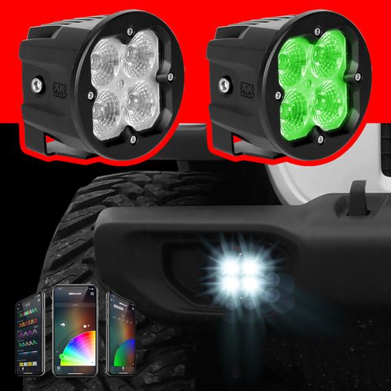 2pc Round Fog/Driving/Spot/Flood SAE Cube Offroad Light W/ Fog Light Mount | XKchrome Smartphone App